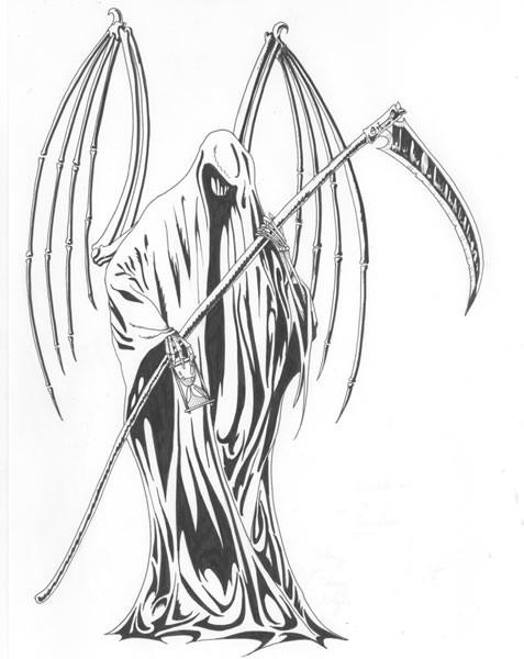 Skeleton-winged death keeping a long scythe and tiny hourglass tattoo design