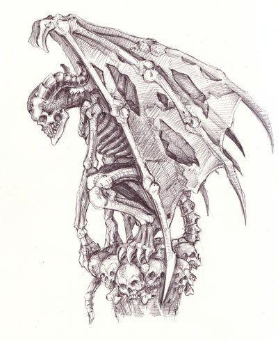 Skeleton gargoyle sitting on skulls tattoo design