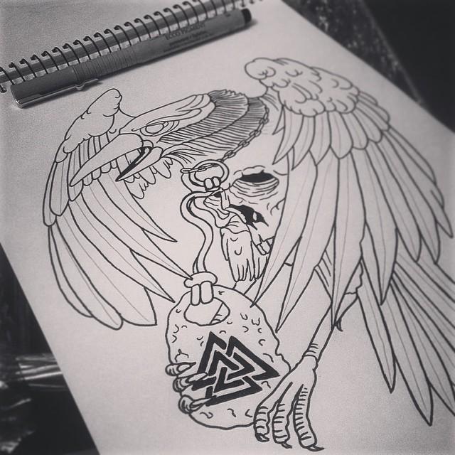 Skull-body raven with sacred medallion tattoo design