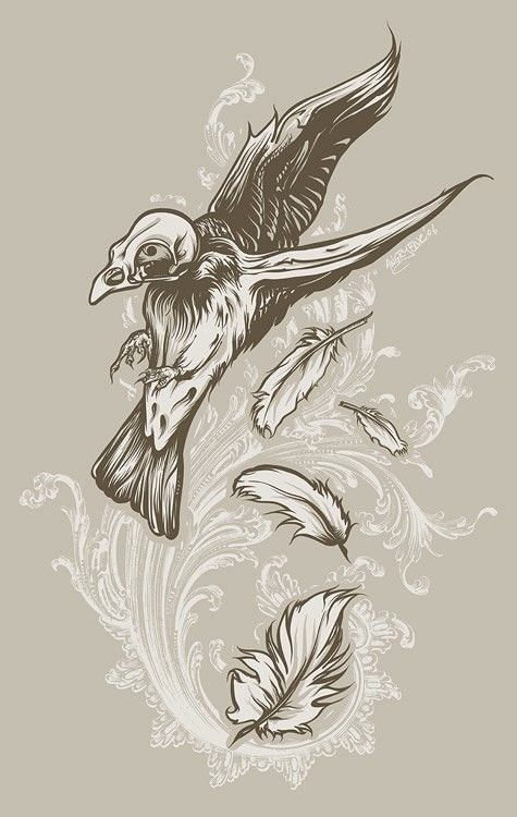 Skull-headed raven with falling feathers on white swirly background tattoo design