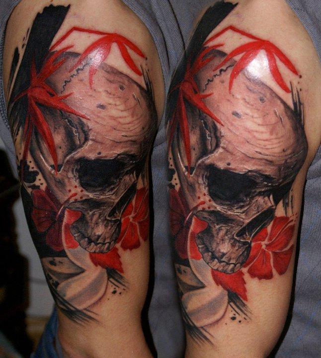 Skull  with red flowers tattoo by Csaba Kolozsvari