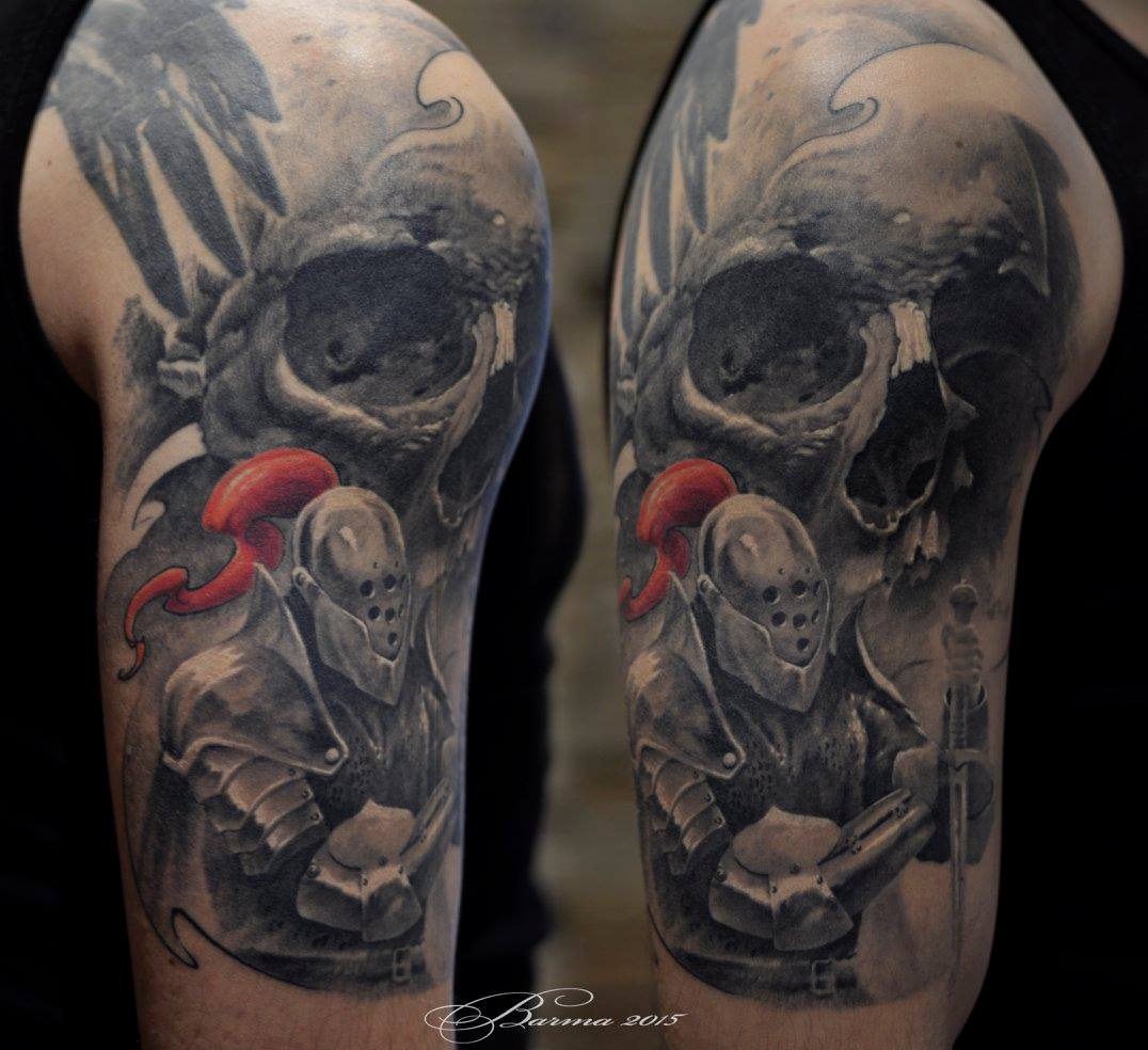 Skull and Knight tattoo on shoulder