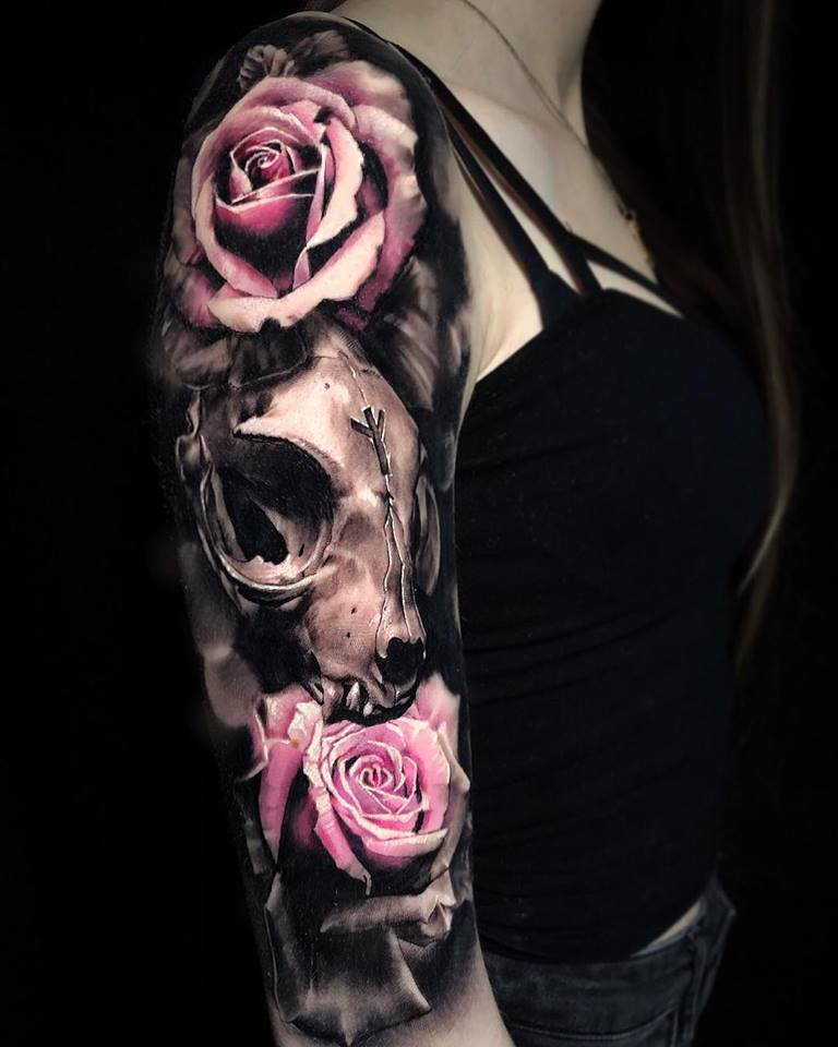 Skull and roses tattoo on arm3