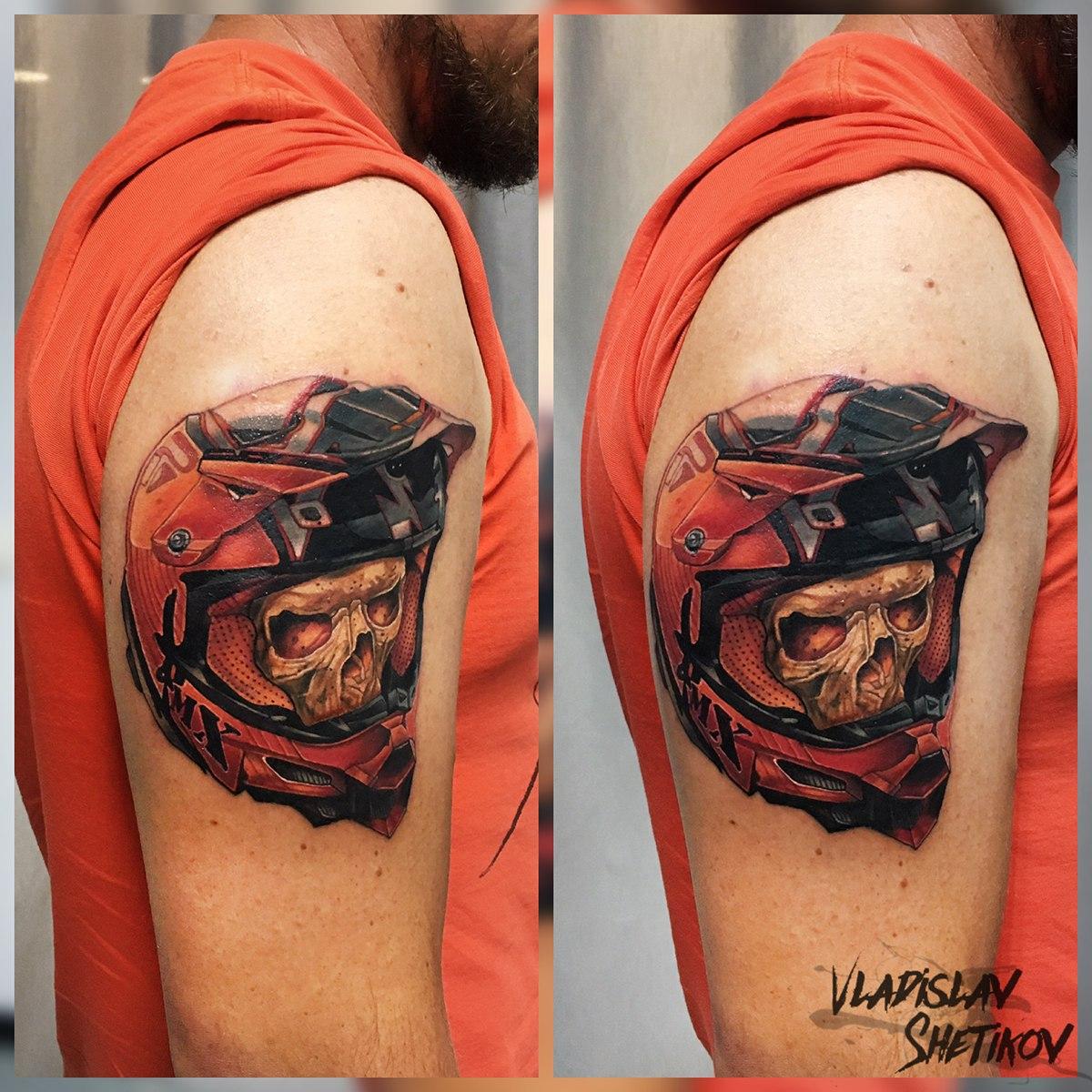Skull in sports hamlet tattoo on sholder