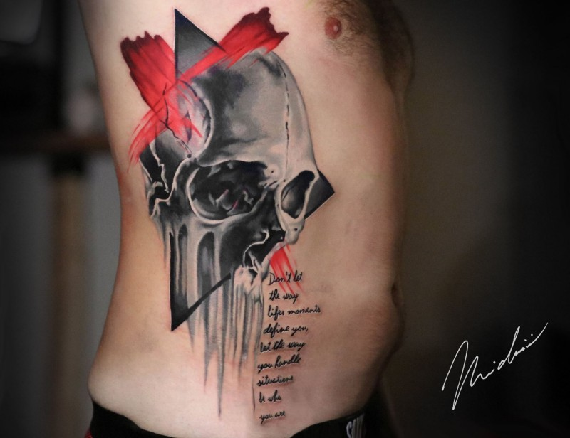 Skull ribs piece tattoo