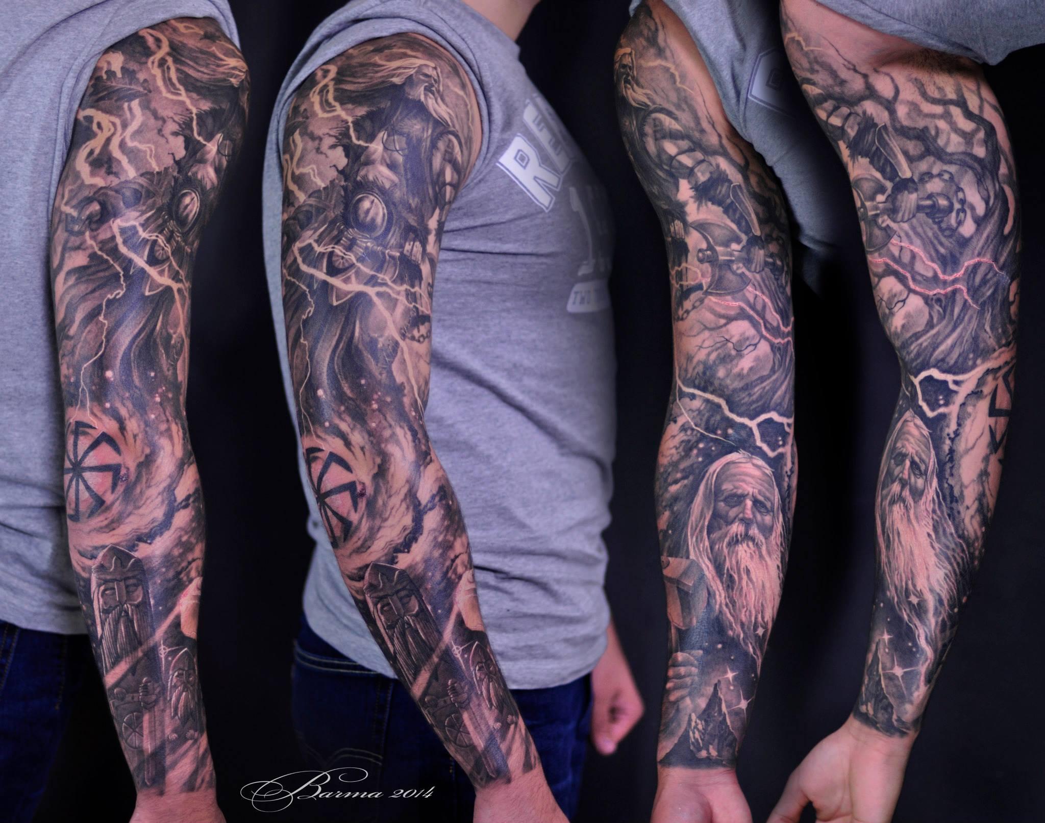 Slavic and Viking theme full sleeve tattoo