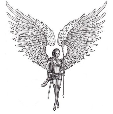 slim female angel with extra big wings and a stick tattoo design. Black Bedroom Furniture Sets. Home Design Ideas