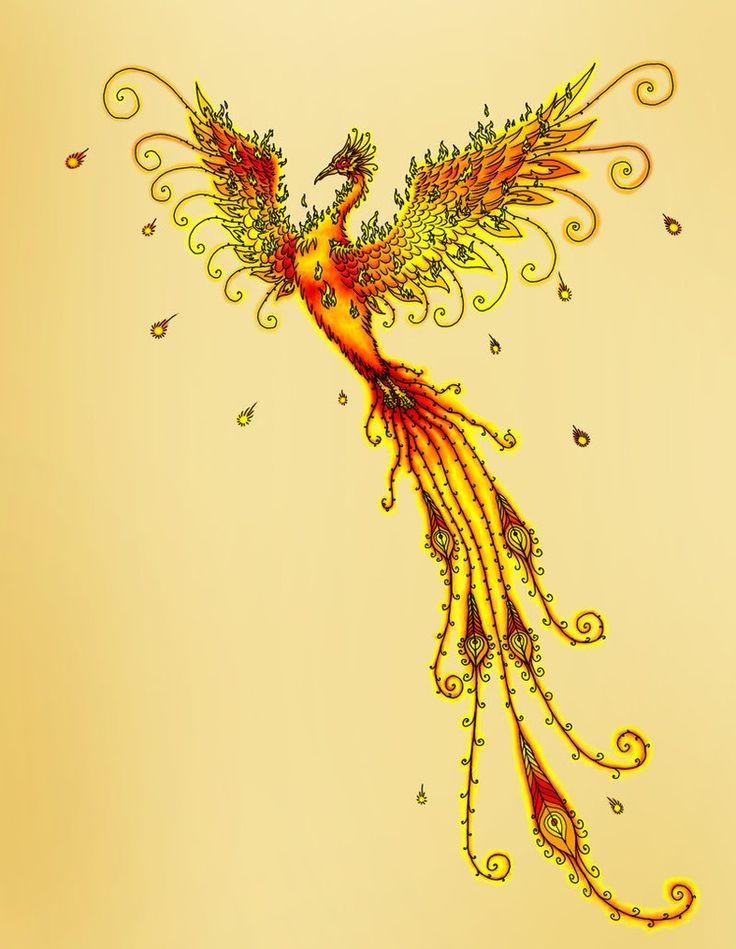 Slim orange rising phoenix in yellow shine tattoo design