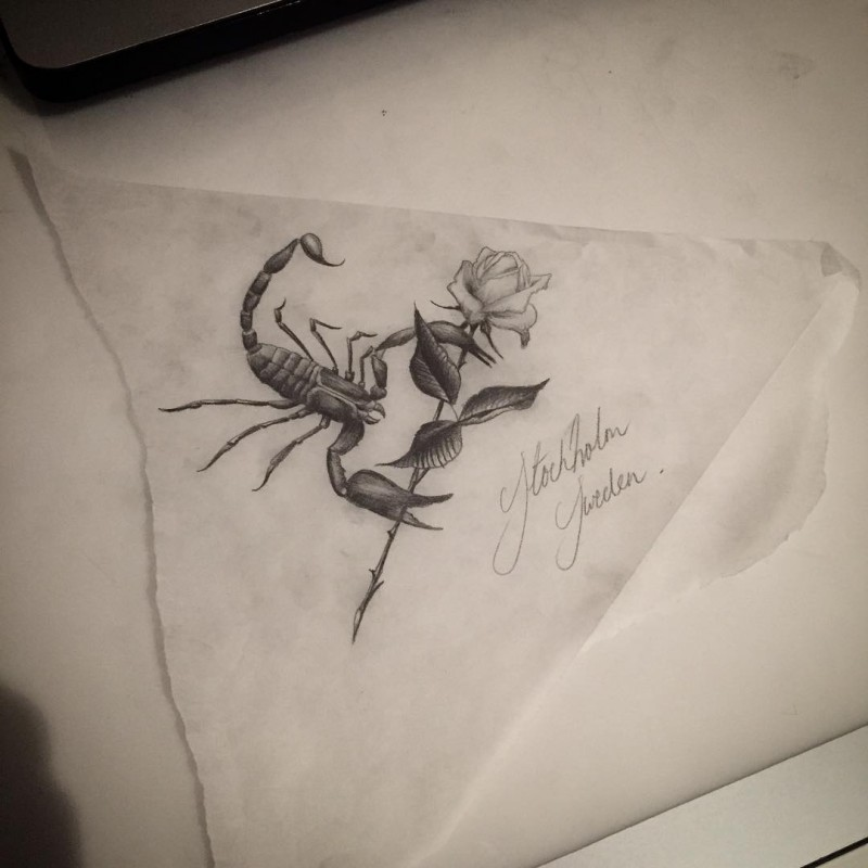 Small Black And White Scorpion With Huge Rose Flower Tattoo Design