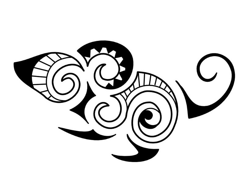 Small Maori Tattoo Designs: Small Black-ink Maori-style Mouse Tattoo Design