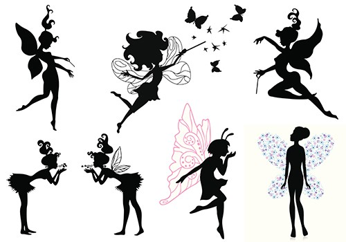 Small black fairy with colorful wings tattoo designs