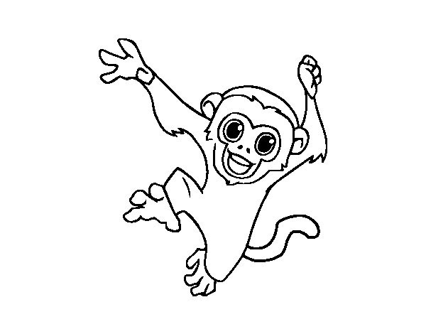 f55defbd82636 Small cheerful outline monkey tattoo design - Tattooimages.biz