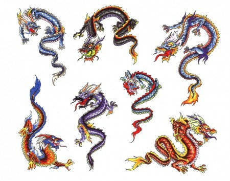 Small colorful dragon tattoo designs