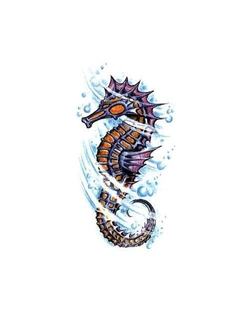 Small colorful seahorse in water vortex tattoo design