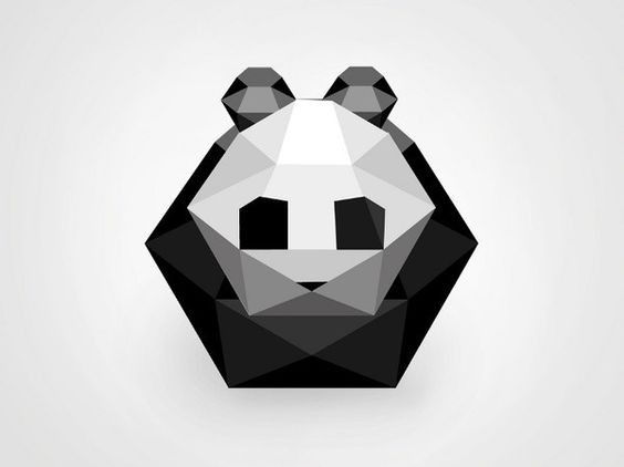 Small curled geometric panda bear tattoo design