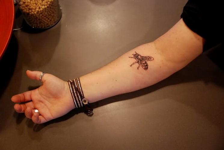 Small cute bee tattoo on forearm - Tattooimages.biz