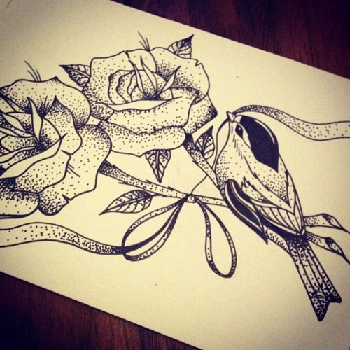 small dotwork bird and two big roses tattoo design. Black Bedroom Furniture Sets. Home Design Ideas
