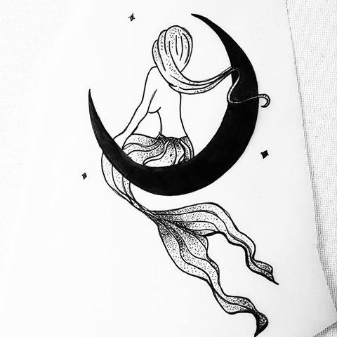 Small dotwork mermaid sitting on black half moon tattoo design