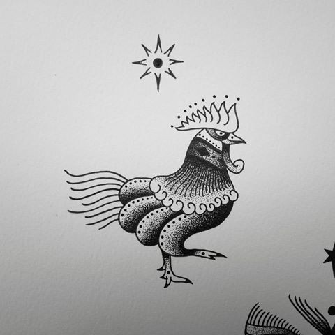 Small dotwork rooster and shining star tattoo design