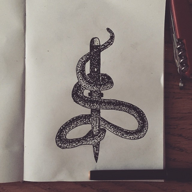 Small dotwork snake killed with dagger tattoo design