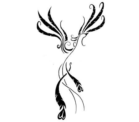 Small elegant black-ink phoenix silhouette tattoo design