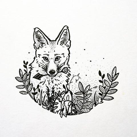 Small fox keeping an arrow in teeth tattoo design