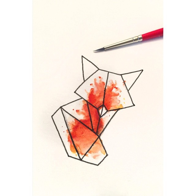 Small geometric fox figure on orange watercolor background tattoo design