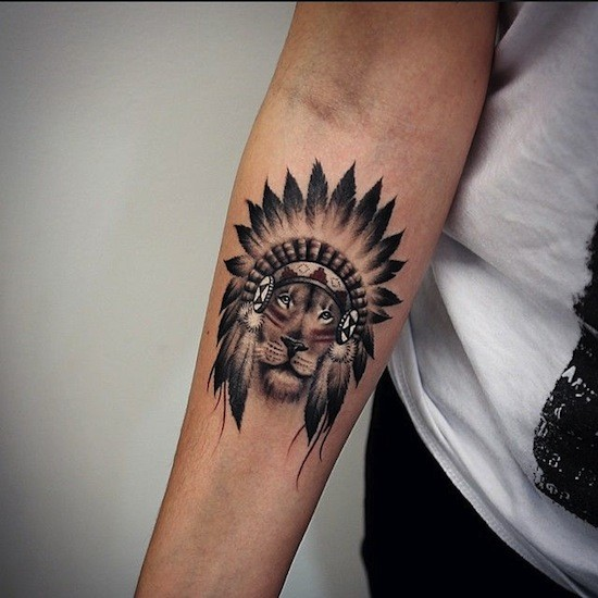 Small Great Black And White Indian Lion Tattoo On Forearm