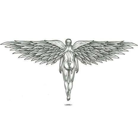 Small grey-ink fallen demon angel from back tattoo design