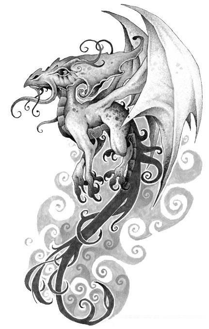 Small grey flying dragon baby with a lot of curls tattoo design