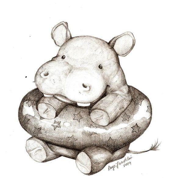 Small grey hippo in starred lifebuoy tattoo design