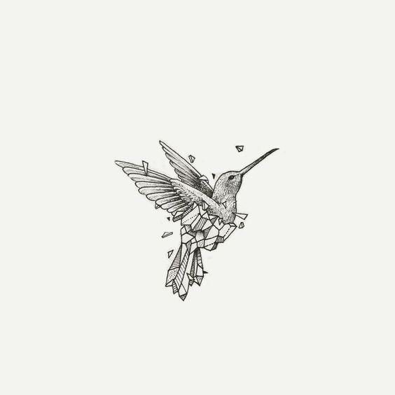 small half geometric hummingbird tattoo design. Black Bedroom Furniture Sets. Home Design Ideas
