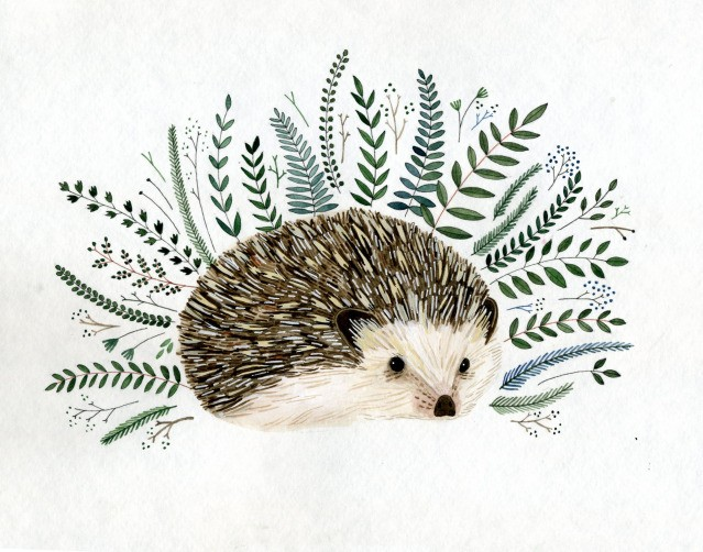 Small hedgehog surrounded with green herbal branches tattoo design