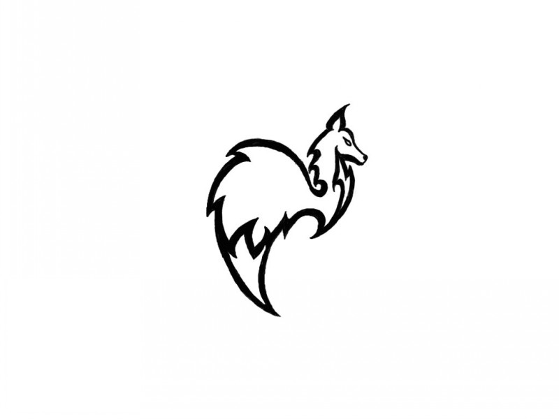 small outline fox emblem tattoo design. Black Bedroom Furniture Sets. Home Design Ideas