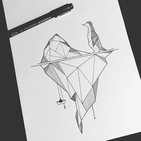 Small Penguin Standing On Gigant Glacier In Geometric Style Tattoo Design