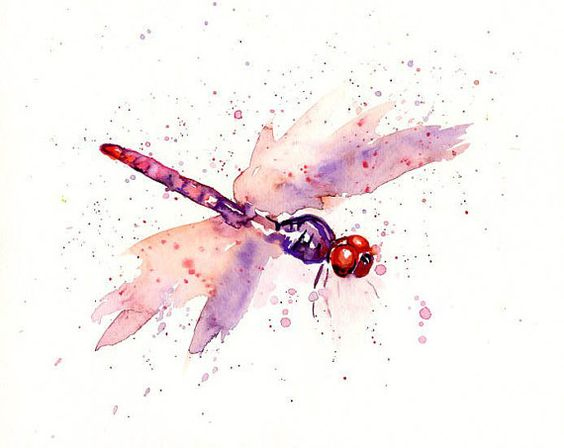 small purple watercolor flying dragonfly tattoo design. Black Bedroom Furniture Sets. Home Design Ideas