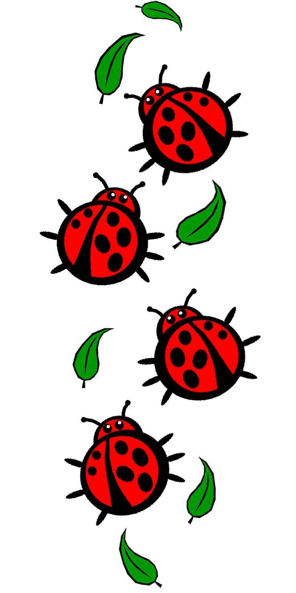 Small red-and-black ladybugs and green falling leaves tattoo design