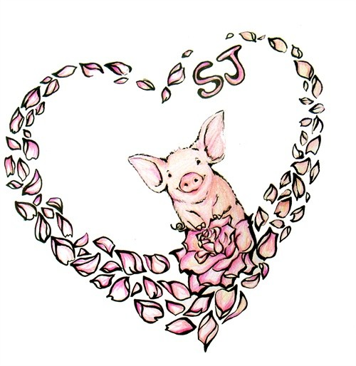 Small rosy pig in heart-shaped rose petals frame tattoo design