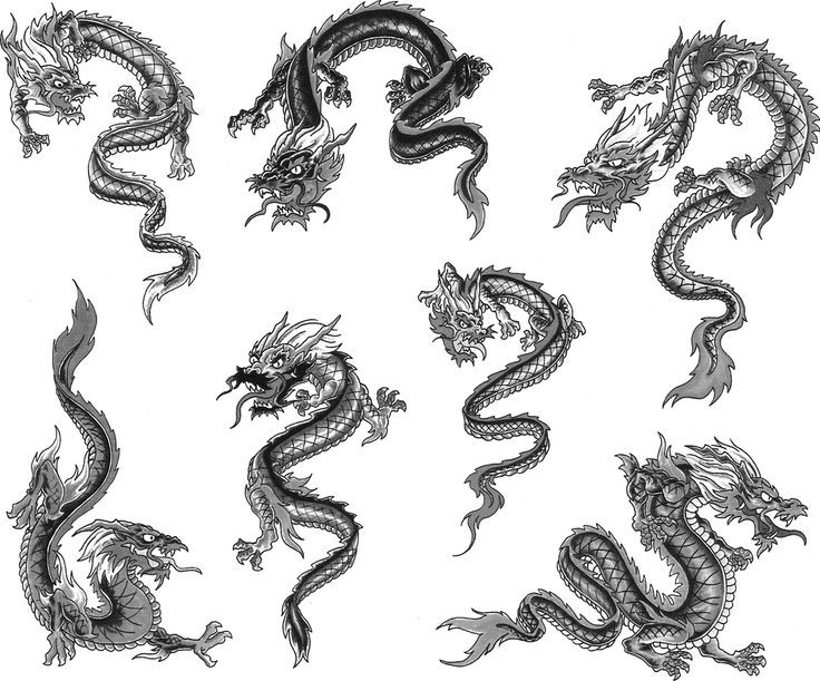 Small traditional grey-color dragon tattoo designs