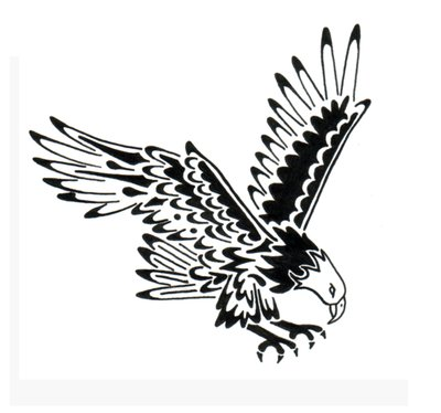 Small tribal flying eagle tattoo design