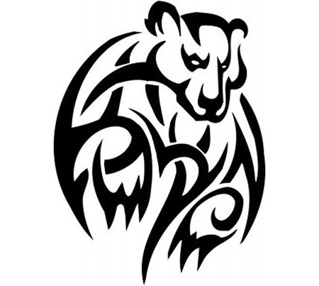 Small tribal grizzly bear tattoo design