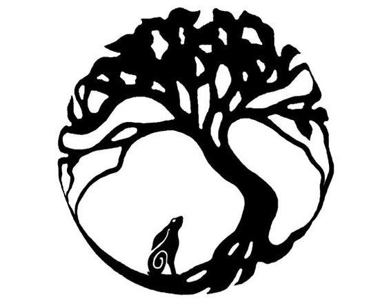 Small tribal hare under gigant tree tattoo design