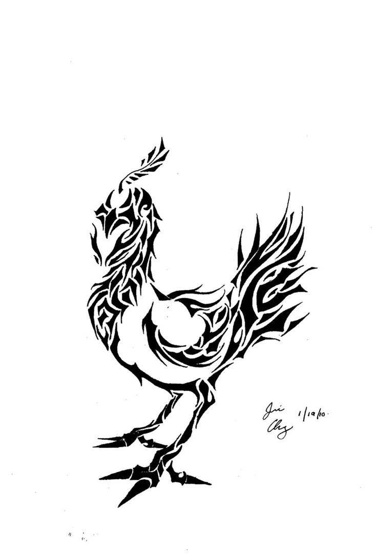 Small tribal rooster tattoo design by Dragon Neko567