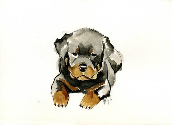 Small upset watercolor rottweiler puppy tattoo design