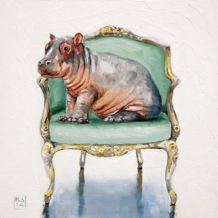 Small watercolor hippo baby sitting on hair tattoo design