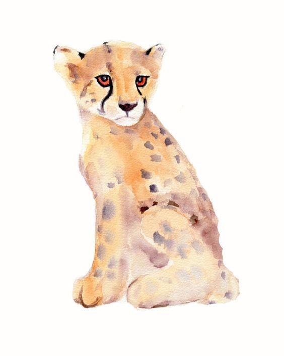 Small watercolor sitting cheetah baby tattoo design