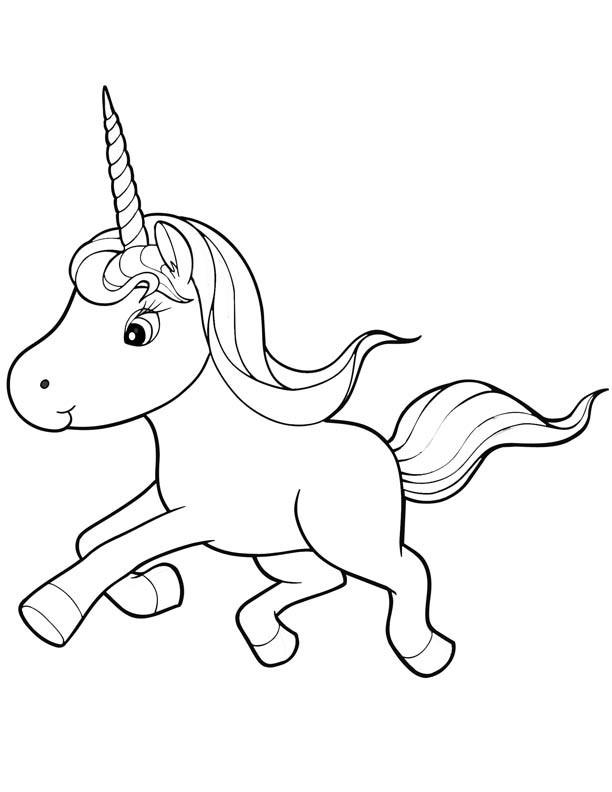 Small xartoon outline running unicorn tattoo design