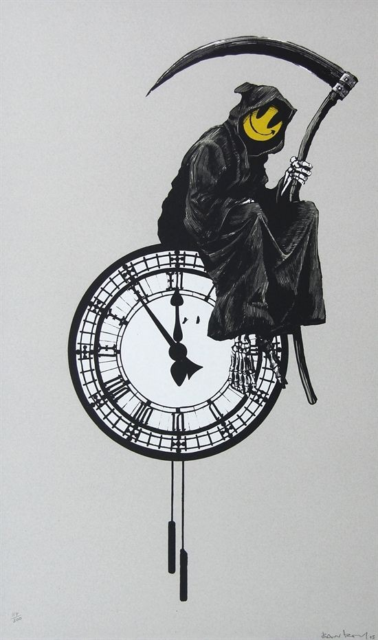 Smiling death sitting on the clock tattoo design