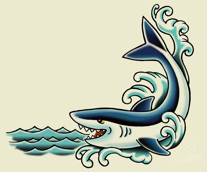 smiling old school shark in waves tattoo design. Black Bedroom Furniture Sets. Home Design Ideas