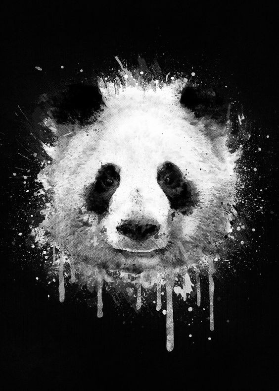 Smiling panda face in white watercolor smudges tattoo design